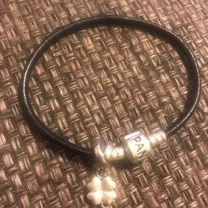 Authentic Pandora leather bracelet with charm